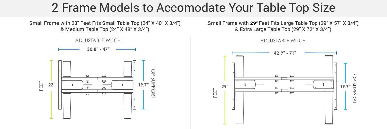 MultiTable Mod E2 Electric Adjustable Height Standing Desk Frame Specs Desk