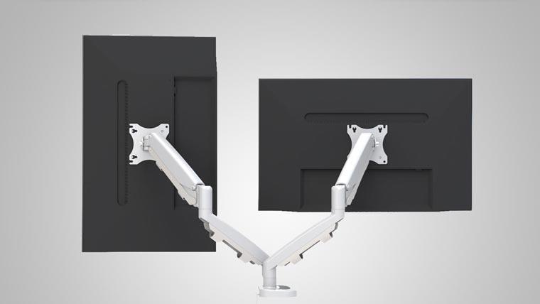Dual Ergo Monitor Arms Silver Specs