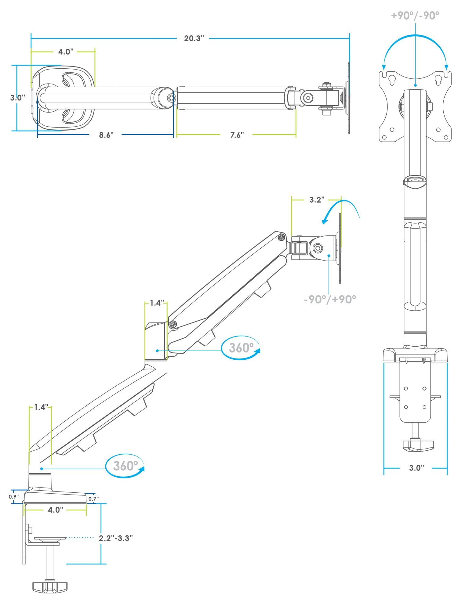Ergo Single Monitor Arm Silver MultiTable Specs